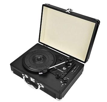 Tocadiscos,Tocadiscos de Vinilo Vintage Bluetooth con 3 velocidades y Altavoces Integrados,portatil Maleta,graba de Vinilo a MP3, Tiene Entrada para ...