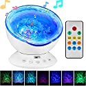 [Newest Generation] TOTOBAY Remote Control Ocean Wave Projector 12 LEDs & 7 Color Changing Modes Night Light and Built-in Mini Music Player for Living Room and Bedroom