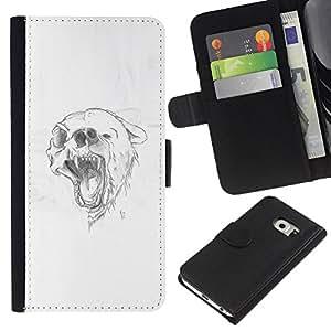 // PHONE CASE GIFT // Moda Estuche Funda de Cuero Billetera Tarjeta de crédito dinero bolsa Cubierta de proteccion Caso Samsung Galaxy S6 EDGE / Grizzly Black Brown Bear Skull Drawing /