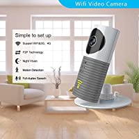 Clever dog Wireless security wifi cameras/Smart Baby Monitor/Surveillance security camera with P2P, Night Vision, Record Video, Two-way Audio, Motion Detection,Iphone Ipad Android(with adaptor)(Grey)