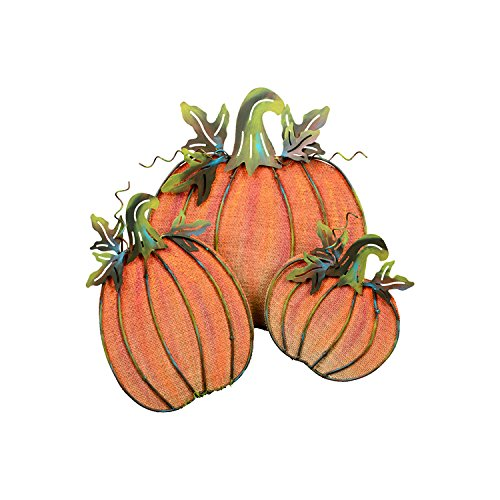 The Round Top Collection - Painted Burlap Pumpkins-Assorted 3 - Metal