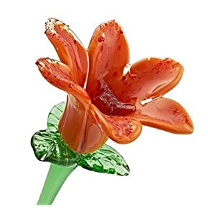 "Handmade Glass Orange Glass Water Lily Flower, One-of-a-kind. Life Size 20"" long. FREE SHIPPING to the lower 48 when you spend over $35.00 7"