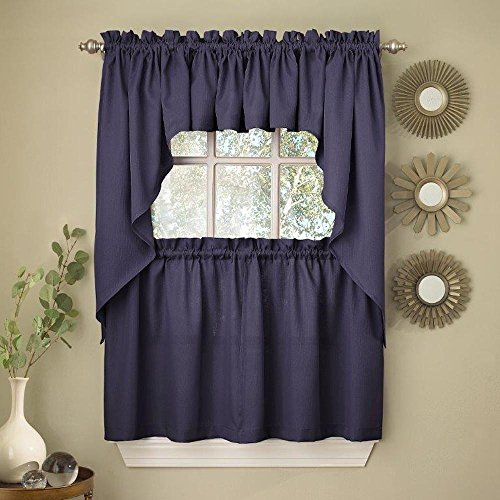 Ribcord Solid Color Kitchen Tier Curtain Pair, 54W x 24L, Navy