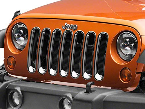 - RED ROCK Redrock 4x4 Grille Inserts - Chrome - for Jeep Wrangler JK 2007-2018