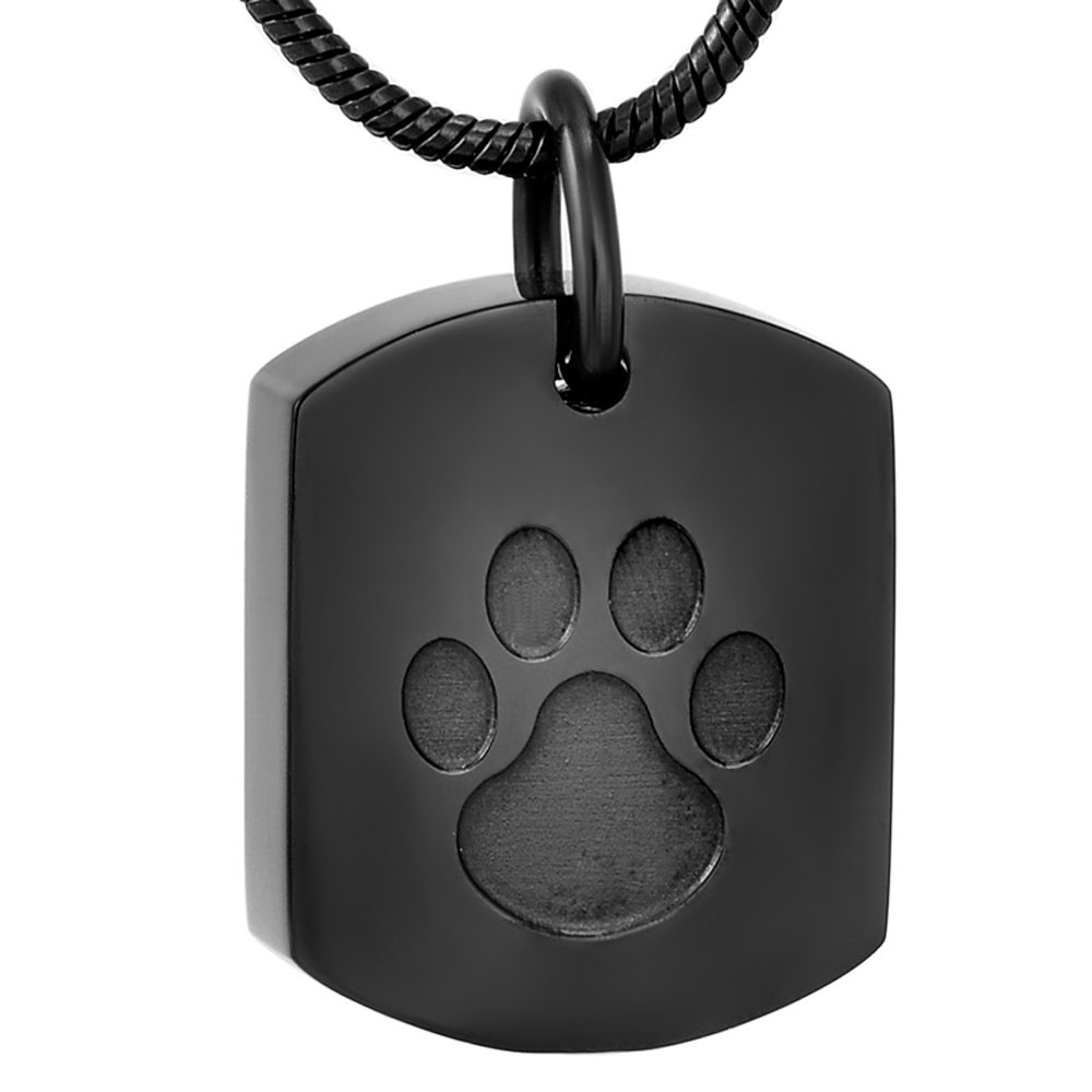 Love of Life CJJ8003 Stainless Steel Cremation Necklace Hold Small Dog Tag Keepsake Memorial Urn Ashes Pendant (Black)