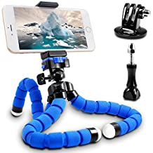 Flexible Tripod,SENHAI Professional Light Weight Camera Support with Adapter and Phone Clip for Smartphone,Sports Camera, Mount on Uneven Surfaces, Tree Branches, Poles etc.(Blue, Large Size)