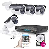 TECBOX 4 Channel 720P AHD Home Security Camera System DVR Recorder 1TB Hard Drive Preinstalled with 4 HD 1.3MP Waterproof Night Vision Outdoor CCTV Surveillance Camera