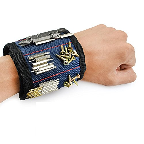 Le Fu Li Polyester Magnetic Wristband Portable Tool Bag Electrician Wrist Tool Belt Screws Nails Drill Bits Holder Repair Tools