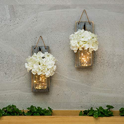 Decor Jar (HABOM Mason Jar Sconce Wall Art Home Decor – Lighted Rustic Country Farmhouse Nightlight Decorations, Decorative Vase Accents for Kitchen, Bathroom, Bedroom, Venue, Office)
