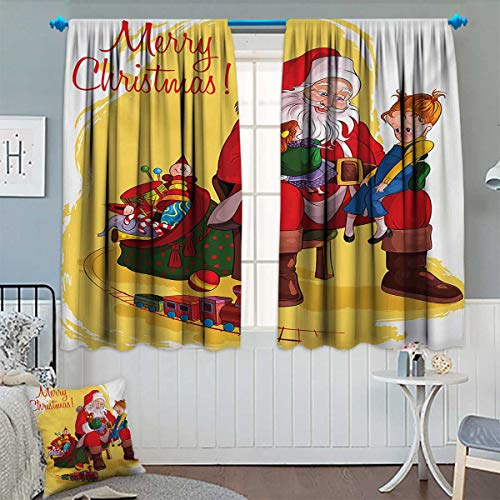 Chaneyhouse Christmas Window Curtain Drape Little Child Sitting on Santa Knee with Gifts Doll and Toy Train Kids Design Decorative Curtains for Living Room 63