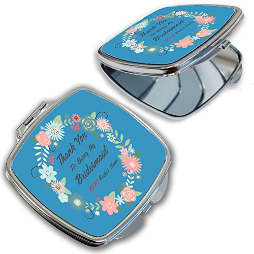 BleuReign(TM) Personalized Custom Floral Thank You For Being My Bridesmaid Compact Cosmetic ()