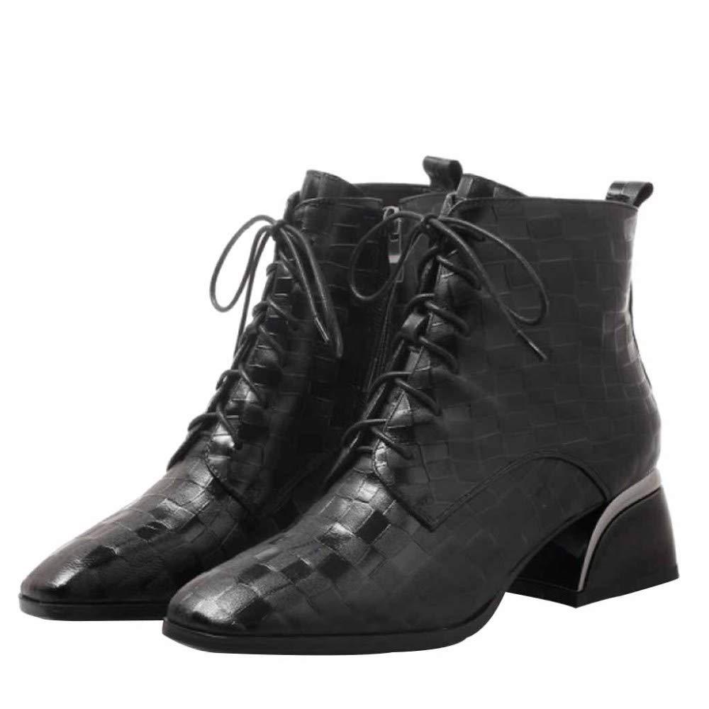 Damen Damen Martin Stiefel Quadratische Dicke Ferse Leder Stiefeletten Geprägt Karierte Spitze Sport Outdoor Schuhe