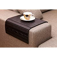 Black Sofa Side Tray Table - Wood Armrest Tray – Sofa Tray Table - Surface For Coffee/Meals/Laptop - 22.5 x 14