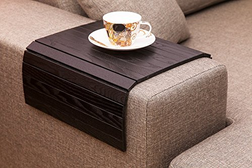 Black Sofa Side Tray Table – Wood Armrest Tray – Sofa Tray Table – Surface For Coffee/Meals/Laptop – 22.5″ x 14″