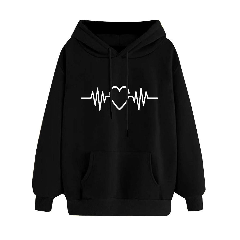 Malbaba Women's Sweatshirts Beating Heart Print Long Sleeve Pullovers Shirt Top Black by Malbaba