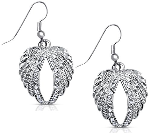 Crystal Silver Tone Angel Wings Dangle Earrings Bridal Prom Christmas Fashion (Boutique Costumes Halloween Paris)
