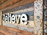BELIEVE Sign Decor Large Reclaimed Rustic Pallet Wall Log Cabin Style 44'' Shutter BROWN Chocolate Blue Tan *Industrial Rustic Metal Lettering *Handcrafted Distressed LARGE Wood *Hang INDOOR or OUTDOOR