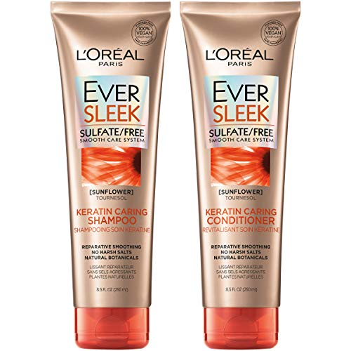 L'Oreal Paris Hair Care EverSleek Keratin Caring Sulfate Free Shampoo & Conditioner Kit, Smooths + Repairs, With Sunflower Oil, For Dry, Straightened Hair, (8.5 fl. oz. each)