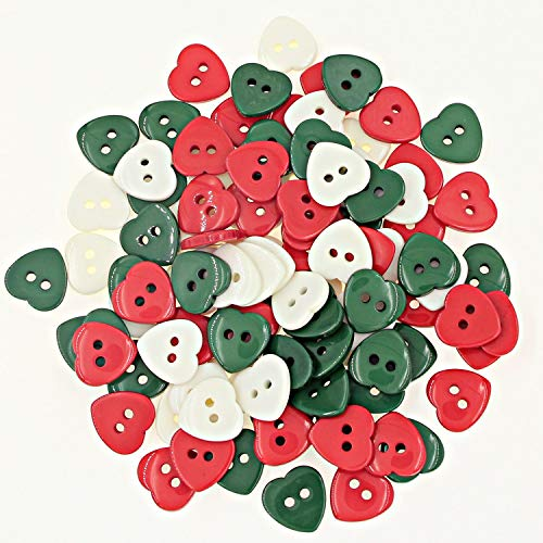 100pcs(15mm) Green,White and Red Heart Shaped Mixed Christmas Crafts Buttons for Kids Scrapbooking Decoration Ornament Kits