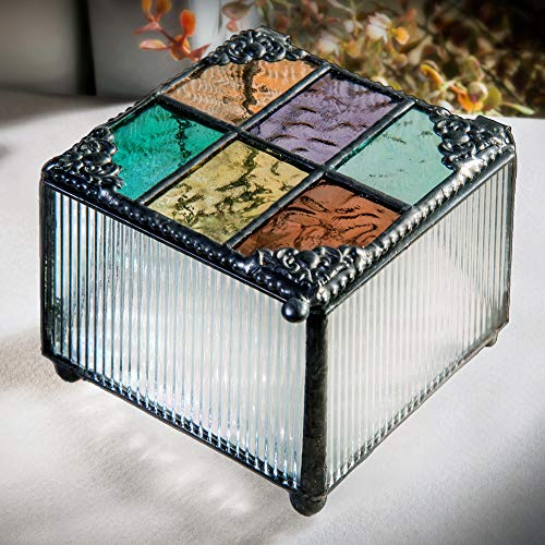 J Devlin Box 815 Stained Glass Trinket Box Colorful Blue Purple Green Amber Keepsake Gift Decorative Jewelry (Glass Fluted Shade)