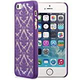 iPhone SE Case, GreatShield [TACT | Damask Design] Flower Pattern Snap On Case Embossed Back Cover for Apple iPhone SE / 5S / 5 (Purple)