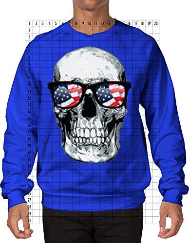 Big White Skull With American Flag Sunglasses Men's Crewneck Sweatshirt Sweater (XL, ROYAL BLUE)