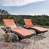 Christopher Knight Home 566 Salem Chaise Outdoor Grey Wicker Arm Lounges with Orange Water Resistant Cushions (Set of 2) Review
