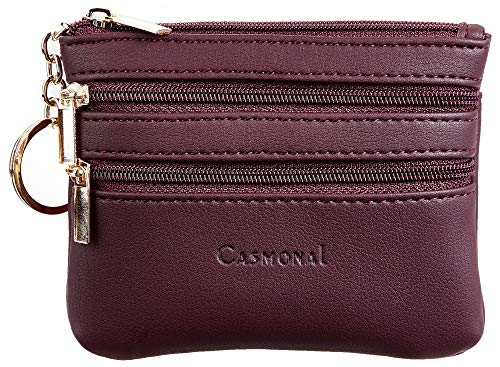 - Casmonal Womens Genuine Leather Coin Change Purse Pouch Slim Minimalist Front Pocket Wallet Key Ring (Red Wine)