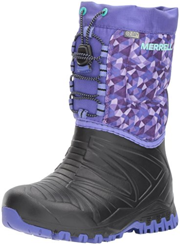 (Merrell Snow Quest Lite Waterproof Snow Boot (Little Kid/Big Kid), Black/Purple, 13 M US Little Kid)