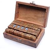 set di 70 pezzi stile vintage numero di lettere dell'alfabeto in gomma di legno stamp Timbri