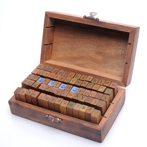 34 opinioni per set di 70 pezzi stile vintage numero di lettere dell'alfabeto in gomma di legno