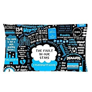 LuckyAppleStore Custom Cotton & Polyester Soft Rectangle Zippered Pillow Case Cover 20X36 (Two Sides) - Quote The Fault In Our Stars - About Love Couples Okay Will Be Our Always Stars Watercolor Painting Design Cartoon Personalized Pillowcase