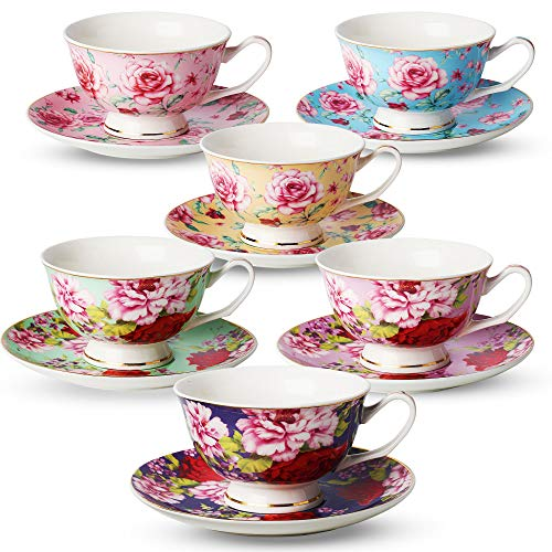 Cups and Saucers Set of 6, Tea Set, Floral Tea Cups (8oz), Tea Cups and Saucers Set, Tea Set, Porcelain Tea Cups, Tea Cups for Tea Party, Rose Teacups, China Tea Cups (Bone China) ()