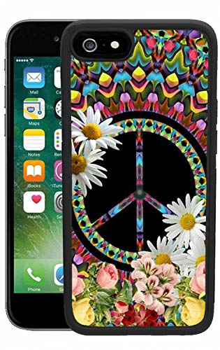 (Case for iPhone 6s 6 Floral Peace Sign Case Hard PC Black Cover Case Waterproof Shockproof Durable Protective Case)