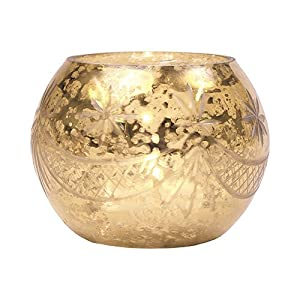 luna bazaar vintage mercury glass candle holder 3inch mary design globe shape gold for use with tea lights for parties weddings - Gold Candle Holders