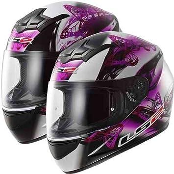 LS2 Casco para moto con diseño de mariposa para mujer principiante, color negro
