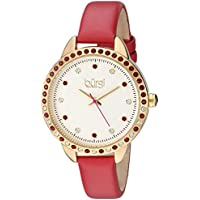 Burgi Swarovski Crystal Accented Women's Watch with Red Genuine Leather Skinny Strap – Studded Bezel and Dial with Embossed Pattern – Japanese Quartz – BUR161RD