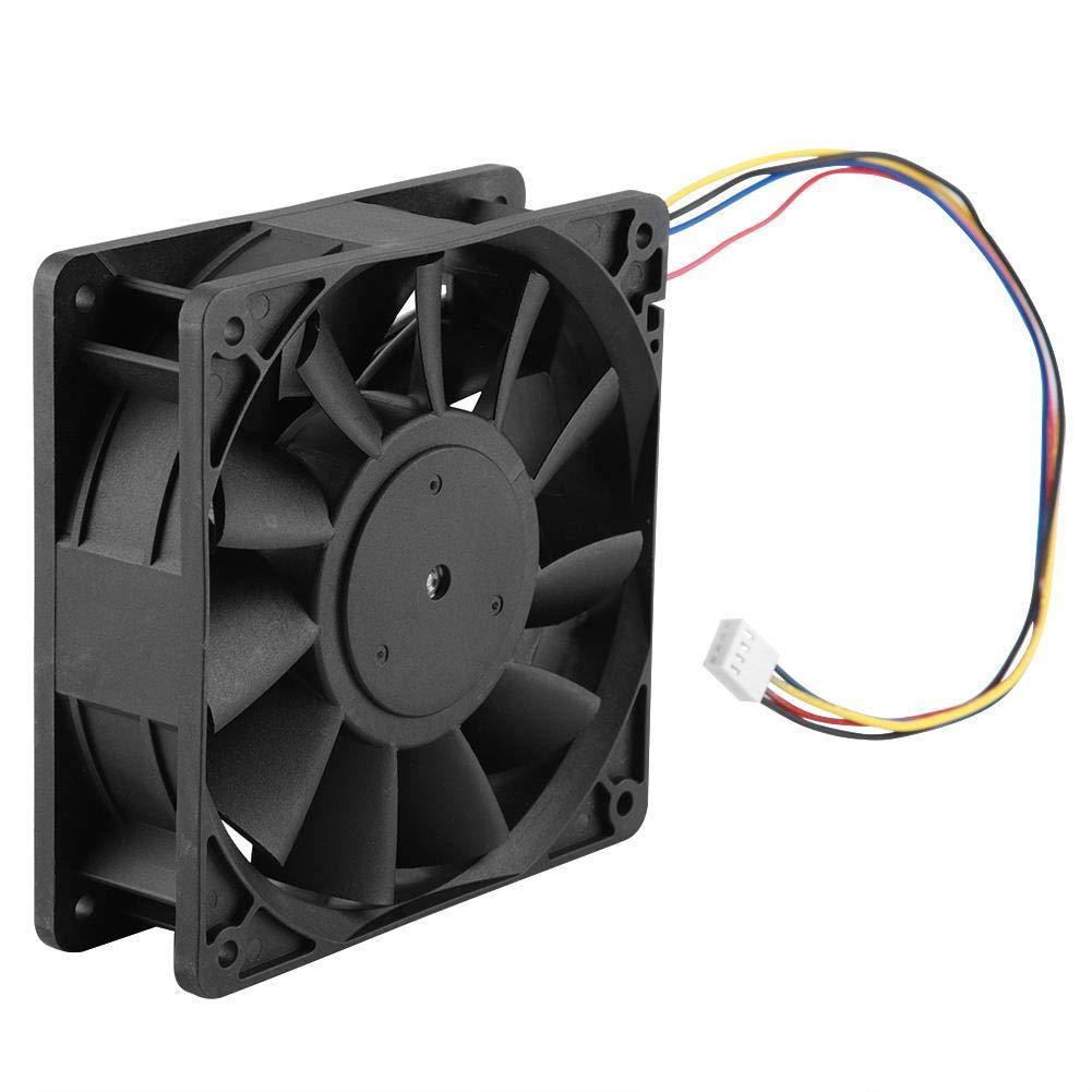 12V 4.8A Ventilador de escape  Ruido bajo  Alto flujo de aire  Industrial Ventilador con Línea de 35cm Un solo paquete Negro