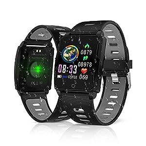 Reloj Inteligente, KINGLINK Smartwatch con Cronómetro Pulsera Inteligente Impermeable Monitor de sueño Pantalla Color Podómetro con Pulsómetro, Calorías IP68 para Android y iOS (Negro) 22