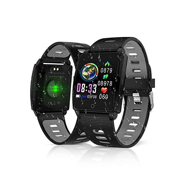 Reloj Inteligente, KINGLINK Smartwatch con Cronómetro Pulsera Inteligente Impermeable Monitor de sueño Pantalla Color Podómetro con Pulsómetro, Calorías IP68 para Android y iOS (Negro) 1