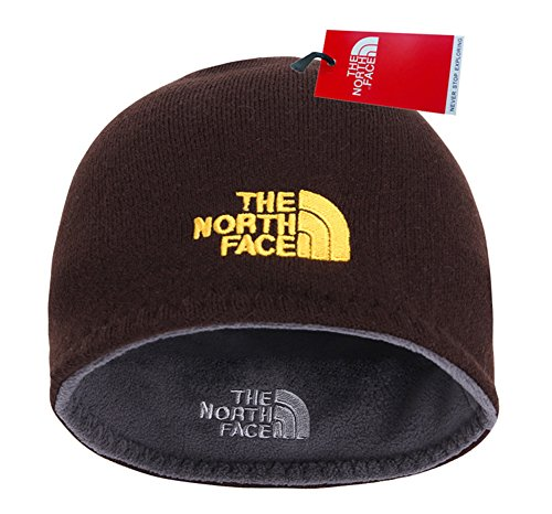 Hand Embroidered Ski (The North Face Winter Thicken Polar Fleece Knit Ski Reversible Beanie Hat (Coffee, One Size))
