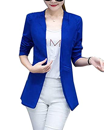 Abrigos Mujer Fashion Elegantes Oficina Blazer Manga Larga Basic ...