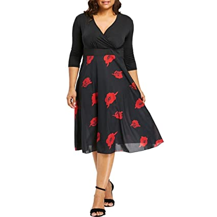 1e8b9163325fb Manxivoo Women Midi Dresses Floral Print Wrap Short Tunic Dress Long Sleeve  Plus Size Prom Dress