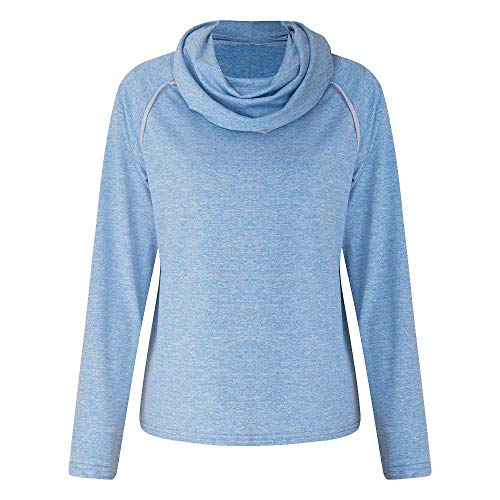 AMSKY Hoodie Coat for Women Plus Size,Womens Winter Long Sleeve Solid Turtleneck Patchwork Sweatshirt Casual Blouse,Skirts,Blue,S -