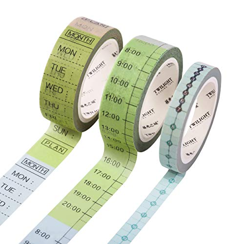 SKYDUE 3 Rolls to Do List Washi Tape Set,15mm Wide Masking Tape for Weekly & Daily Plan, 8mm Hourly Tape, for Bullet Journal, Planner, School, Office with Timeline]()