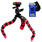 12'' Flexible Wrapable Legs Tripod with Quick Release Plate and Bubble Level (Red/Black) for Sony Alpha SLT-A37, SLT-A58, SLT-A65, & SLT-A77 Digital SLR Cameras w/ HeroFiber Ultra Gentle Cleaning Cloth