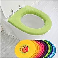 Dealglad® Nuevo 2pcs Calentador de baño en forma de O de tela lavable Cubierta de asiento de inodoro Pad Mat (color aleatorio)