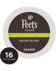 Peet's Coffee Decaf House Blend Dark Roast Coffee K-Cup Coffee Pods (16 Count) Decaffeinated Coffee