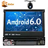 7In Single-DIN Android 6.0 Car Stereo Receiver With Bluetooth and GPS Navigation - Pop-Out Touchscreen Motorized Slide-Out Display Screen With Wi-Fi Web Browsing, App Download And CD/DVD Player