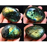 Crystal Agate ®Labradorite Palm Stone Crystal Healing Gemstone Worry Therapy Smooth Soap Shape